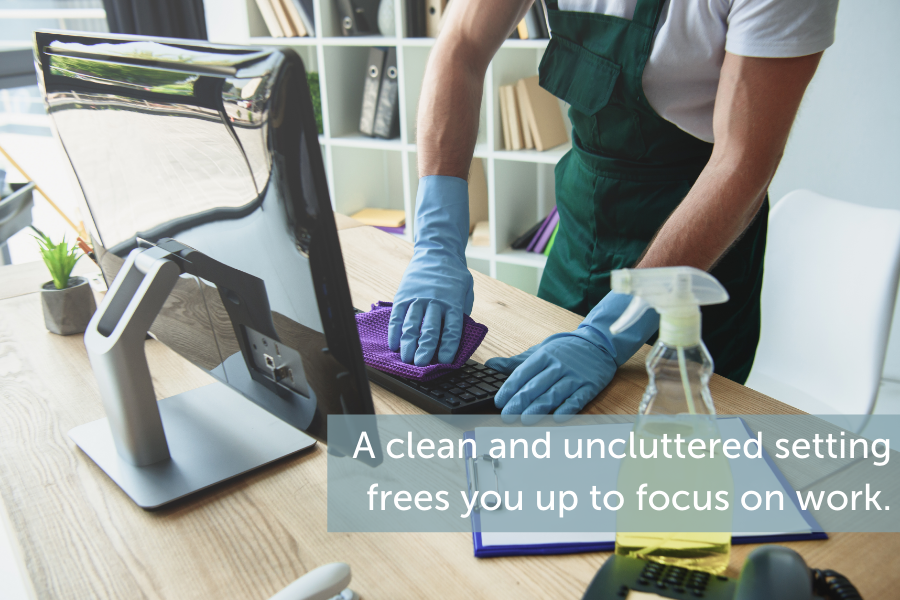 A clean and uncluttered setting frees you up to focus on work
