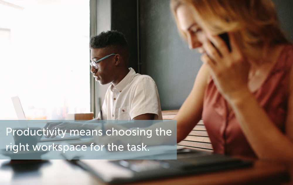 Productivity means choosing the right workspace for the task